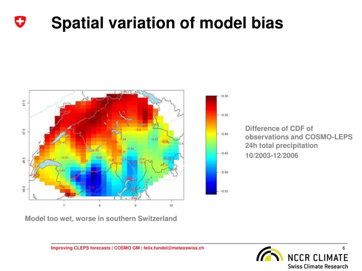 Spatial variation of model bias