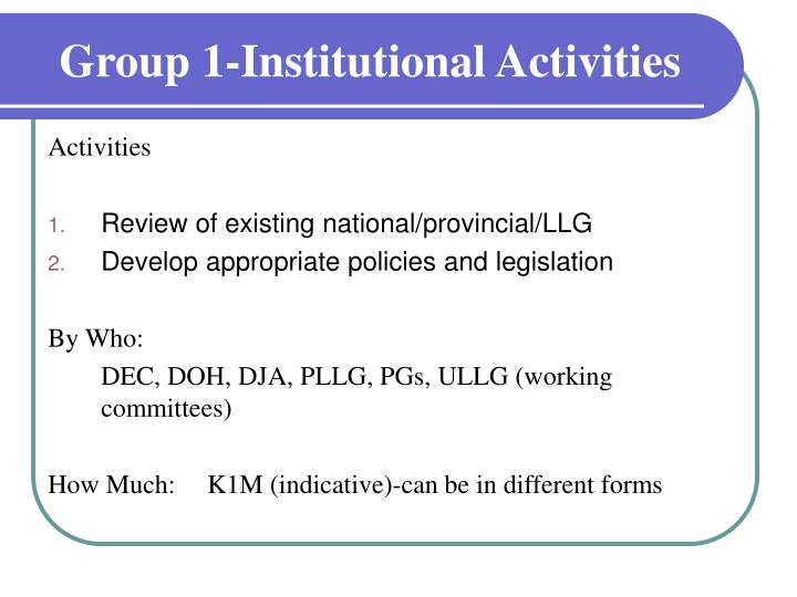 Group 1 institutional activities1