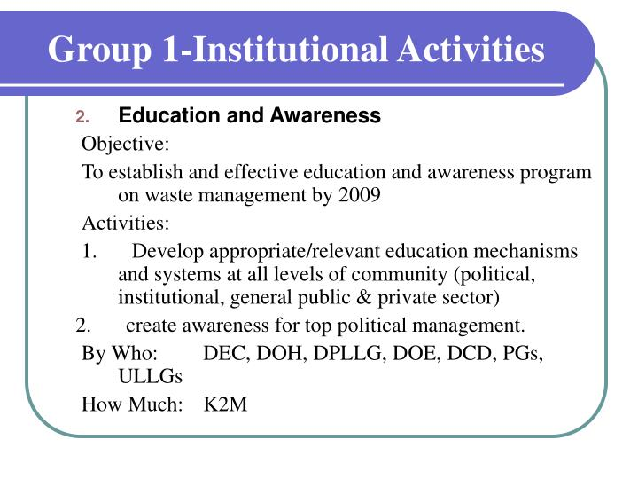 Group 1 institutional activities2