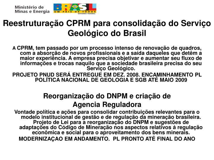 Reestruturação CPRM para consolidação do Serviço Geológico do Brasil