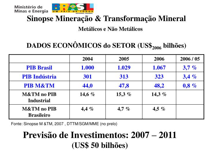 Sinopse Mineração & Transformação Mineral