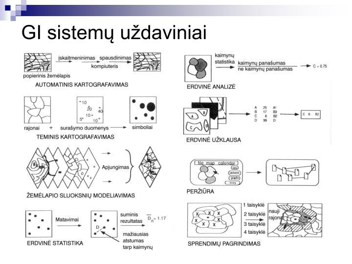 GI sistemų uždaviniai
