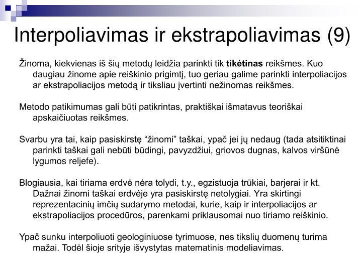Interpoliavimas ir ekstrapoliavimas