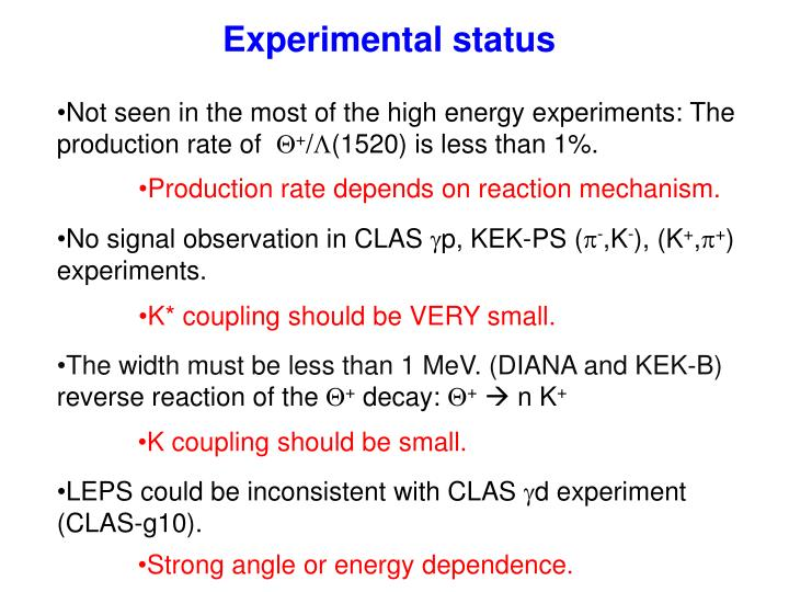 Experimental status