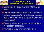 communication dissemination checklist