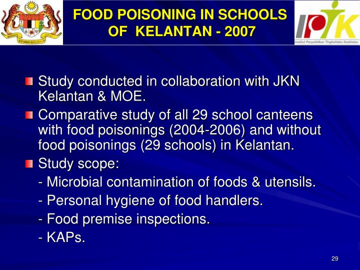 FOOD POISONING IN SCHOOLS