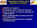 problems of translating research to policies