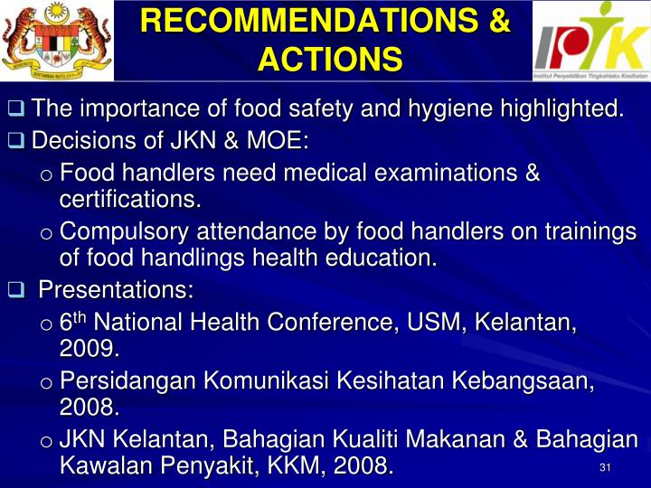 RECOMMENDATIONS &