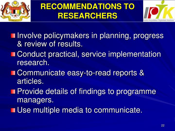 RECOMMENDATIONS TO