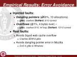 empirical results error avoidance
