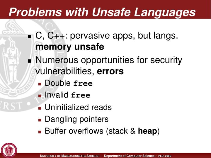 Problems with unsafe languages