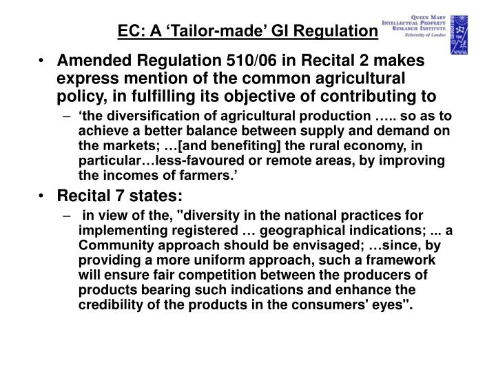 EC: A 'Tailor-made' GI Regulation