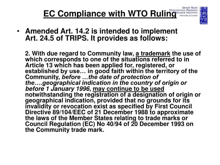 EC Compliance with WTO Ruling