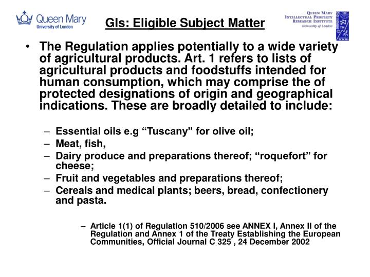 GIs: Eligible Subject Matter