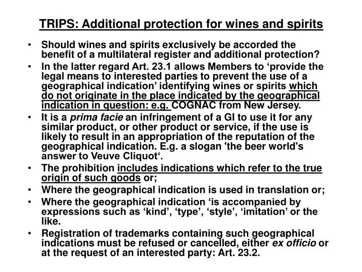 TRIPS: Additional protection for wines and spirits