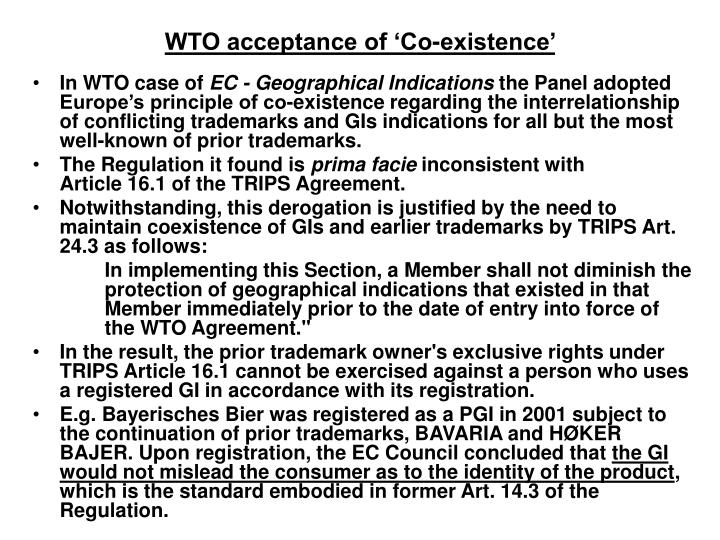 WTO acceptance of 'Co-existence'