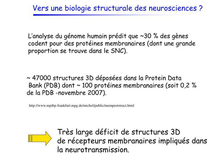 Vers une biologie structurale des neurosciences ?
