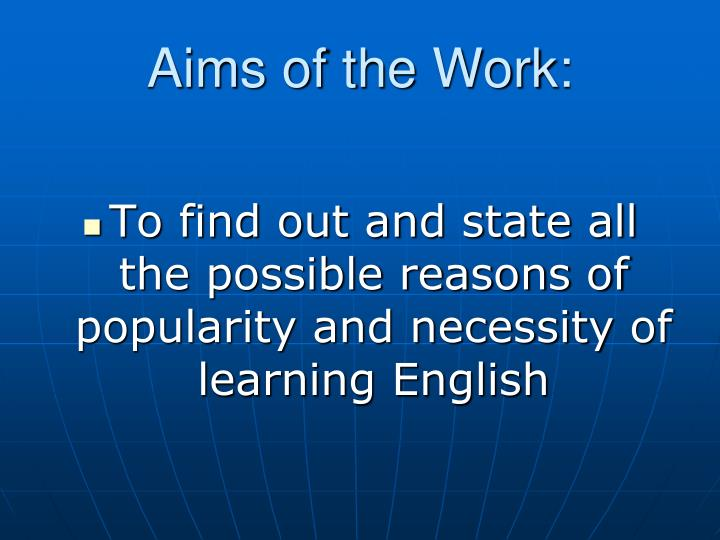 Aims of the Work:
