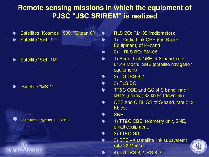 Remote sensing missions in which the equipment of pjsc jsc srirem is realized