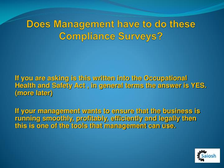 Does Management have to do these Compliance Surveys?