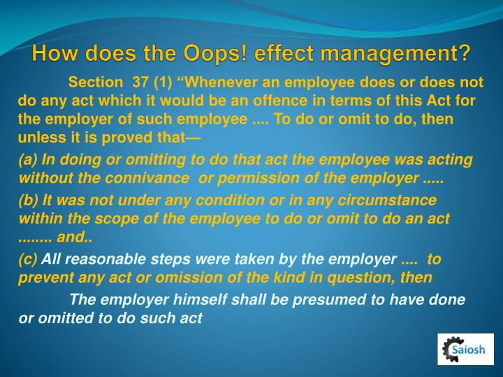 How does the Oops! effect management?