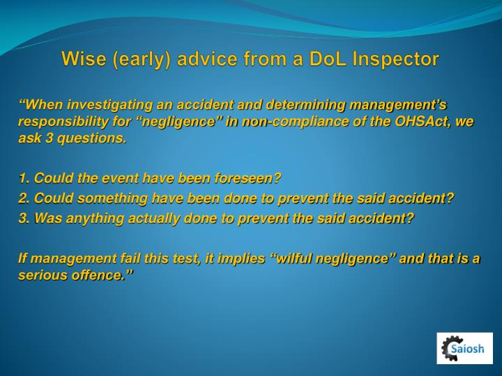 Wise (early) advice from a DoL Inspector