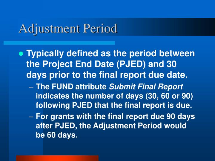 Adjustment Period