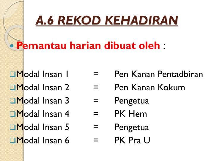A.6 REKOD KEHADIRAN