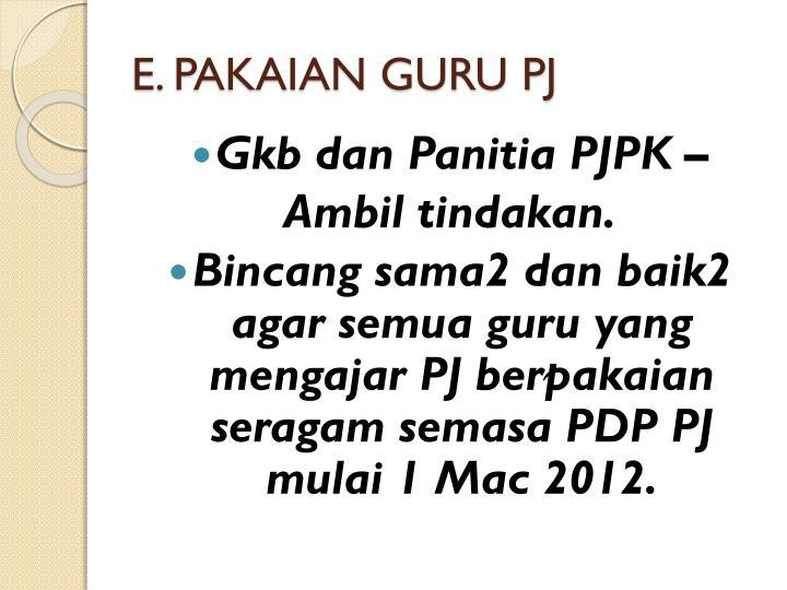 E. PAKAIAN GURU PJ
