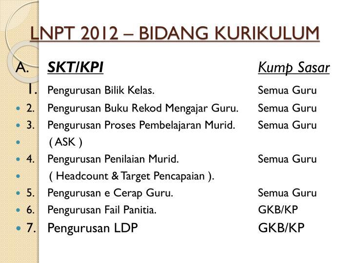 LNPT 2012 – BIDANG KURIKULUM