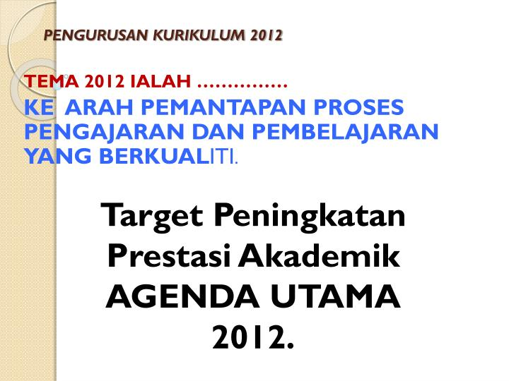 PENGURUSAN KURIKULUM 2012