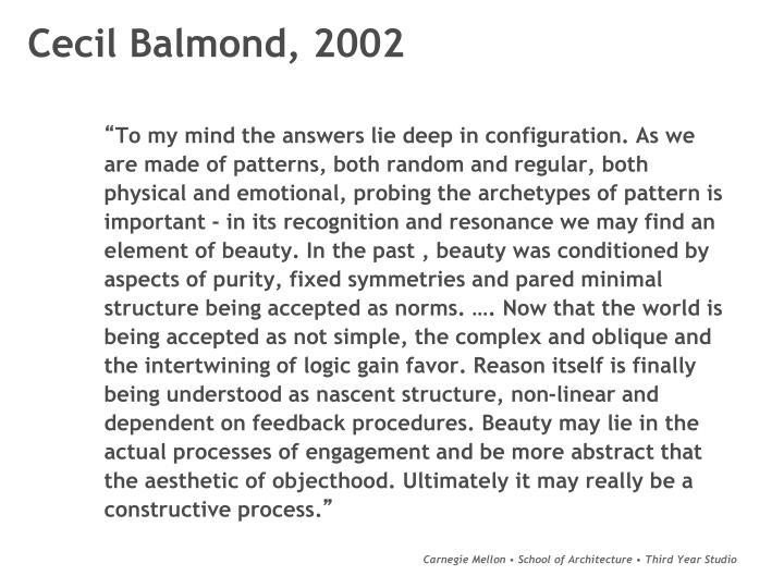 Cecil Balmond, 2002