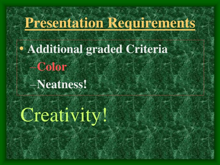 Presentation Requirements