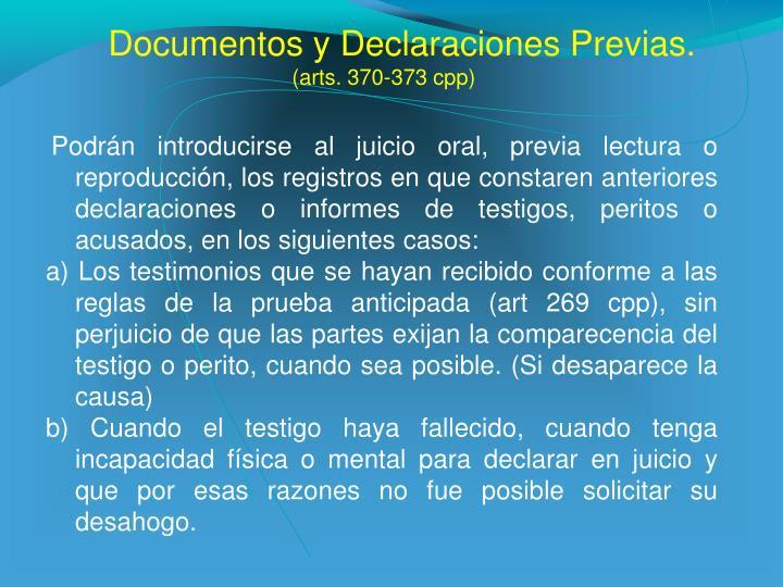 Documentos y Declaraciones Previas.