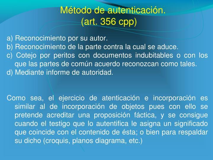 Método de autenticación.