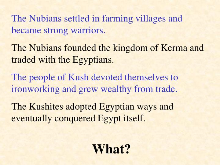 The Nubians settled in farming villages and became strong warriors.