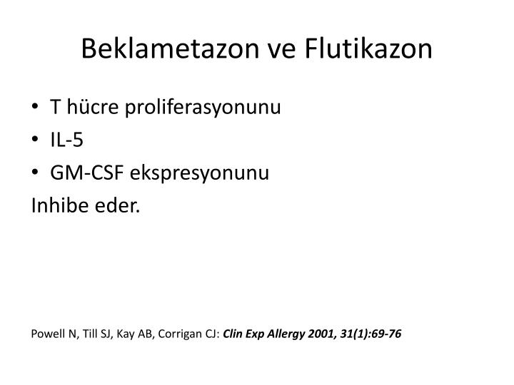 Beklametazon ve Flutikazon