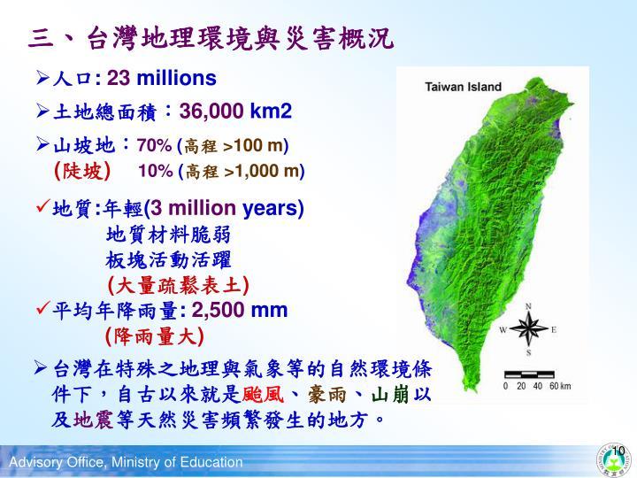 三、台灣地理環境與災害概況