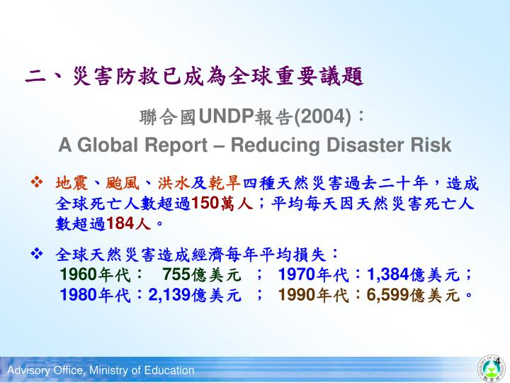 二、災害防救已成為全球重要議題