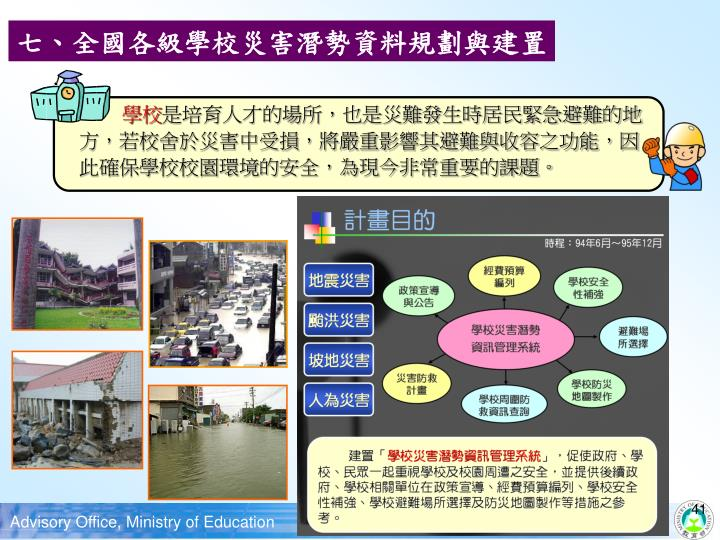七、全國各級學校災害潛勢資料規劃與建置