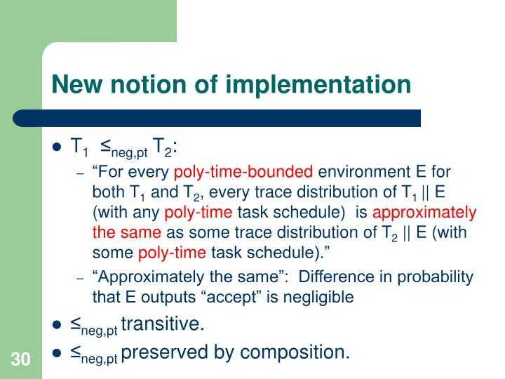 New notion of implementation