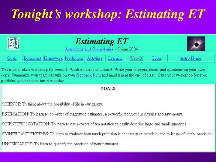 Tonight's workshop: Estimating ET