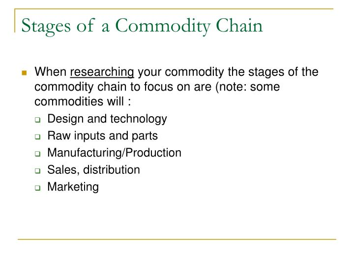 Stages of a Commodity Chain