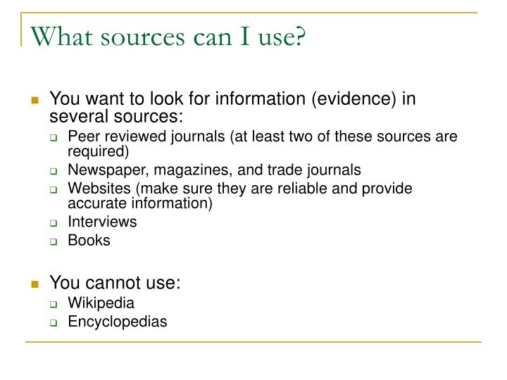 What sources can I use?