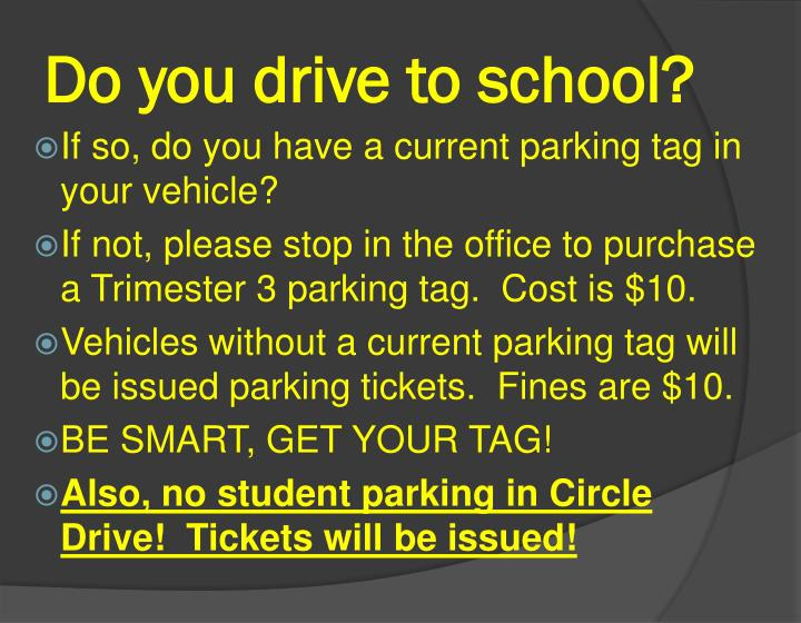 Do you drive to school?