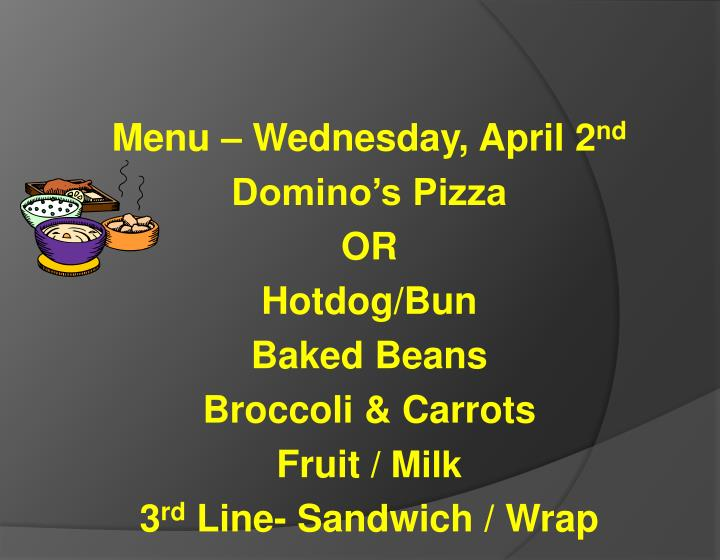 Menu – Wednesday, April 2