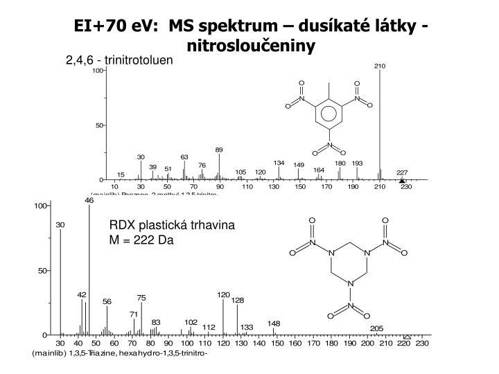 EI+70 eV:  MS spektrum – dusíkaté látky - nitrosloučeniny
