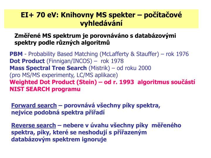 EI+ 70 eV: Knihovny MS spekter