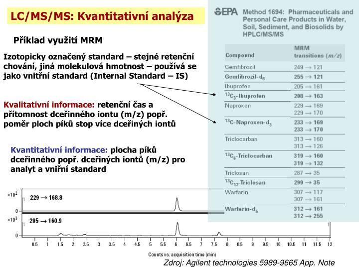 LC/MS/MS: Kvantitativní analýza