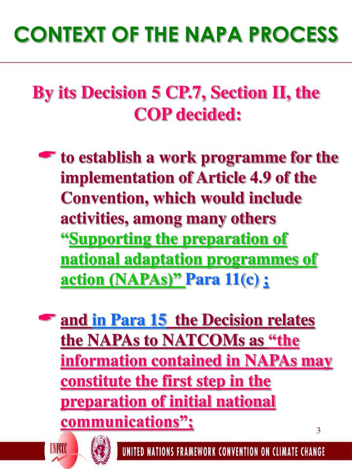 CONTEXT OF THE NAPA PROCESS